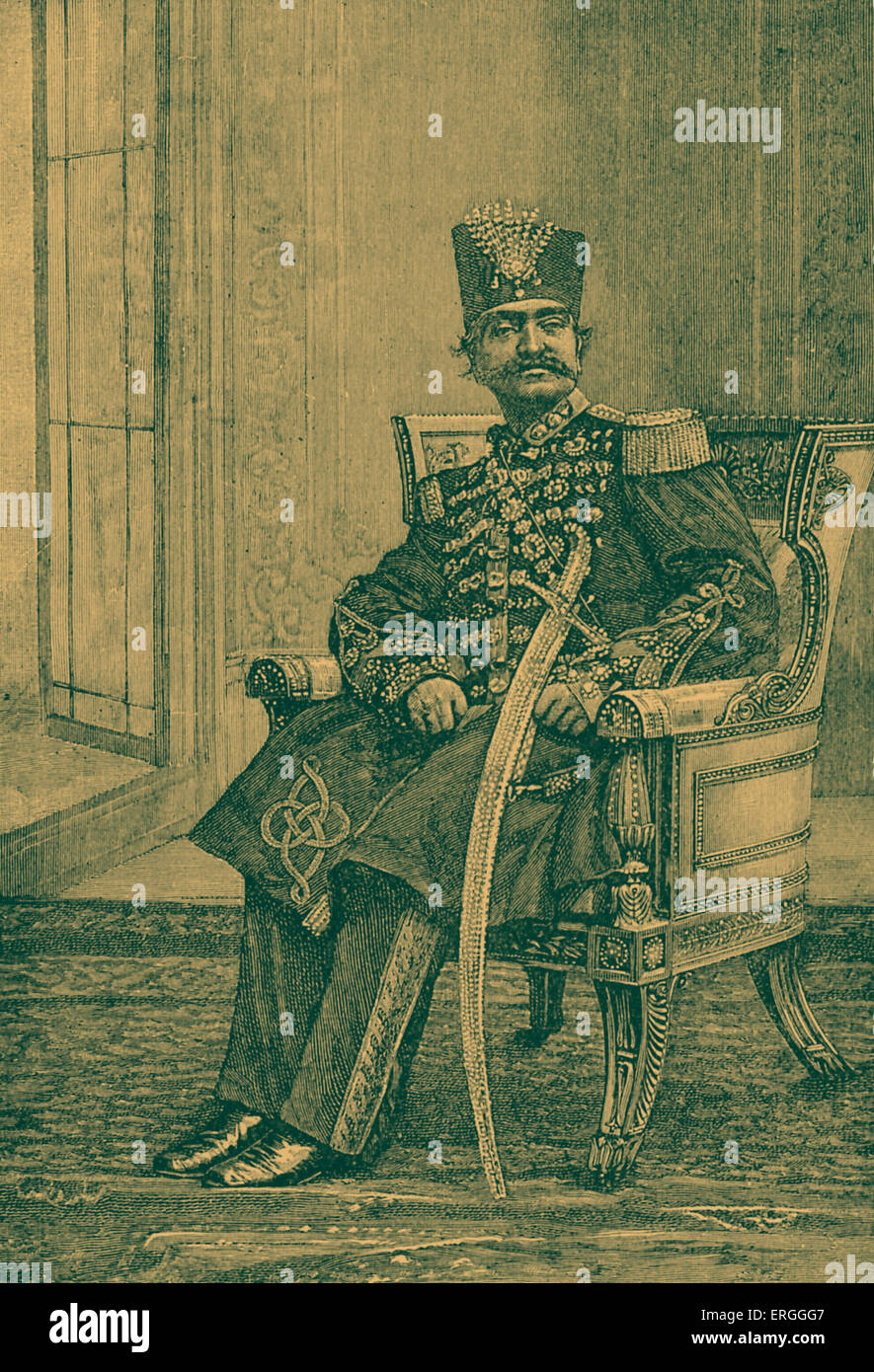 Naser al-Din Shah Qajar - portrait. King of Iran from 17 September 1848 - 1 May 1896 when he was assassinated. 16 - Stock Image