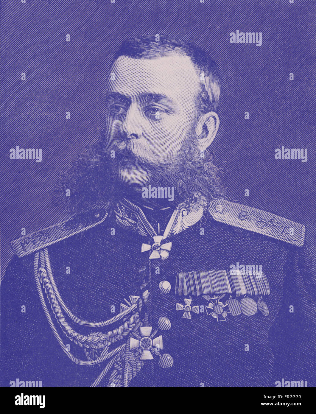 Mikhail Skobelev - portrait after photograph by Charles Bergamosco, St. Petersburg. Russian general known  for his - Stock Image