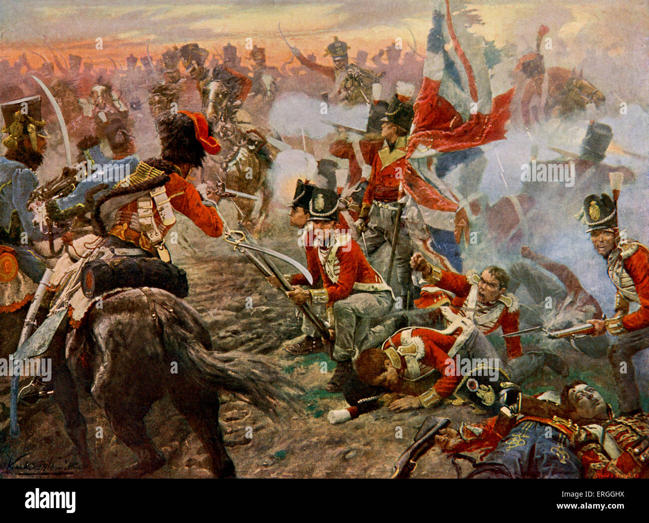 Battle of Quatre Bras - from painting by Vereker.  battle between Wellington's Anglo-Dutch army and the left - Stock Image