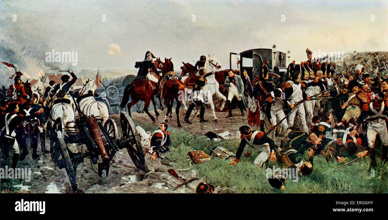 'On the evening of the Battle of Waterloo' - from painting by Ernest Crofts.  Battle between French army - Stock Image