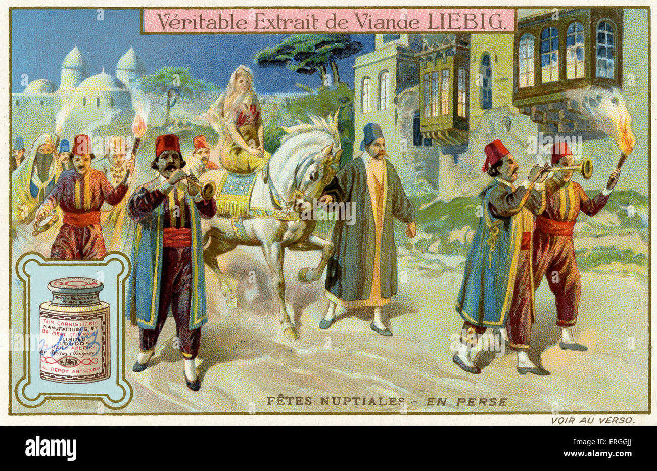 Wedding Celebrations:  Persia,  1910. Traditional marriage ceremony. Liebig Collectible Card ('FÊTES NUPTIALES'). - Stock Image