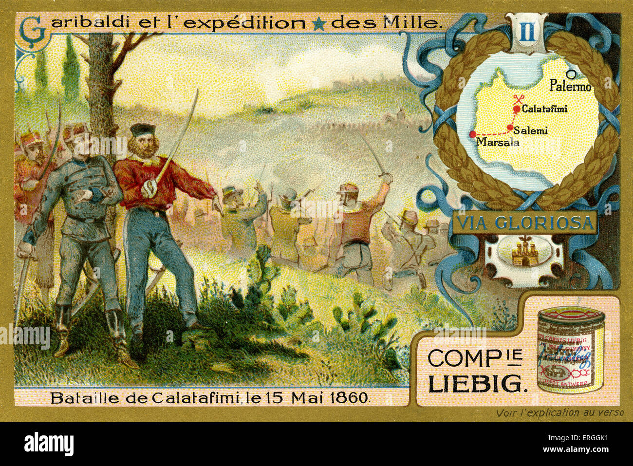 Garibaldi and the Expedition of the Thousand. Illustration of 1910.  Battle of Calatafimi, 15 May 1860. Sicily. - Stock Image
