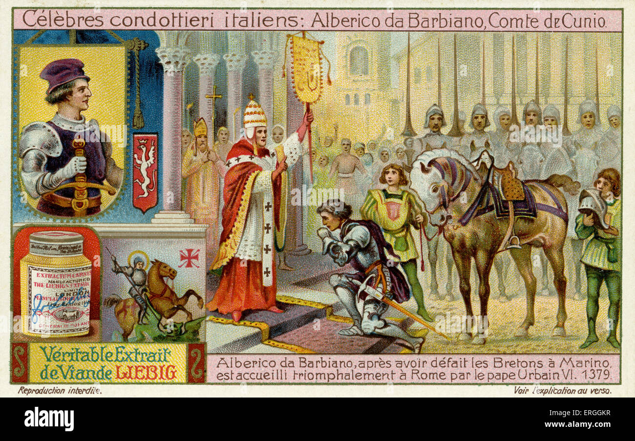 Famous Italian Condottieri: Alberico da Barbiano (c. 1344 – 1409).  Illustration of 1911. Pope Urban VI welcomes Barbiano to