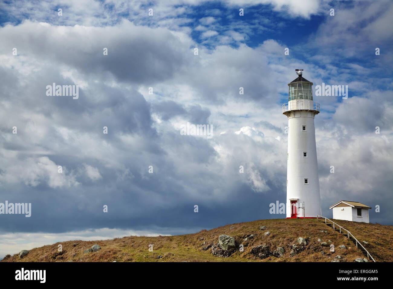 Cape Egmont Lighthouse, Taranaki coast, New Zealand - Stock Image