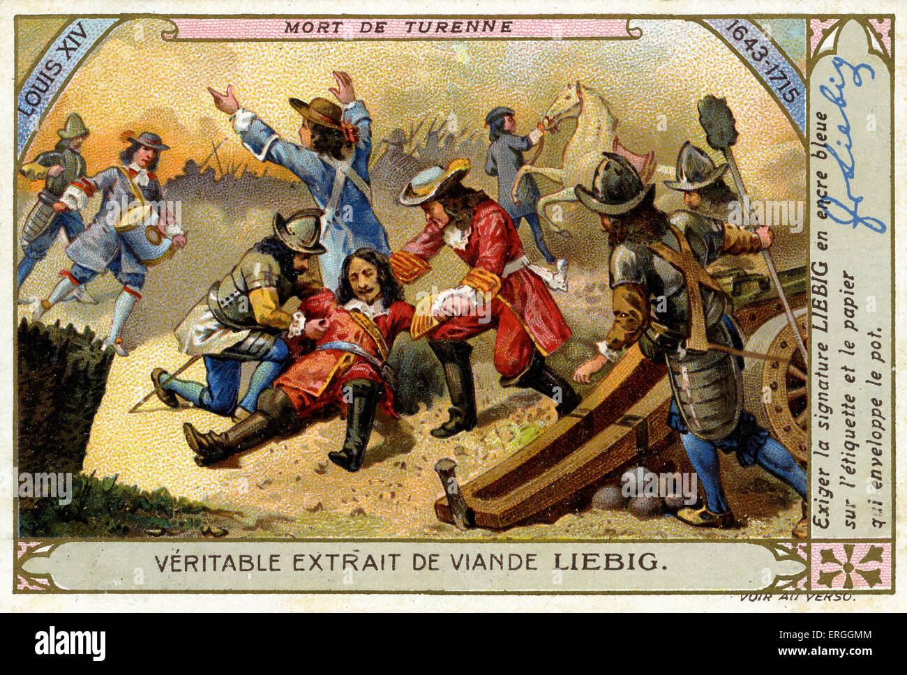 Reign of Louis XIV: Death of Turenne. Henri de la Tour d'Auvergne, Vicomte de Turenne was killed during Dutch - Stock Image