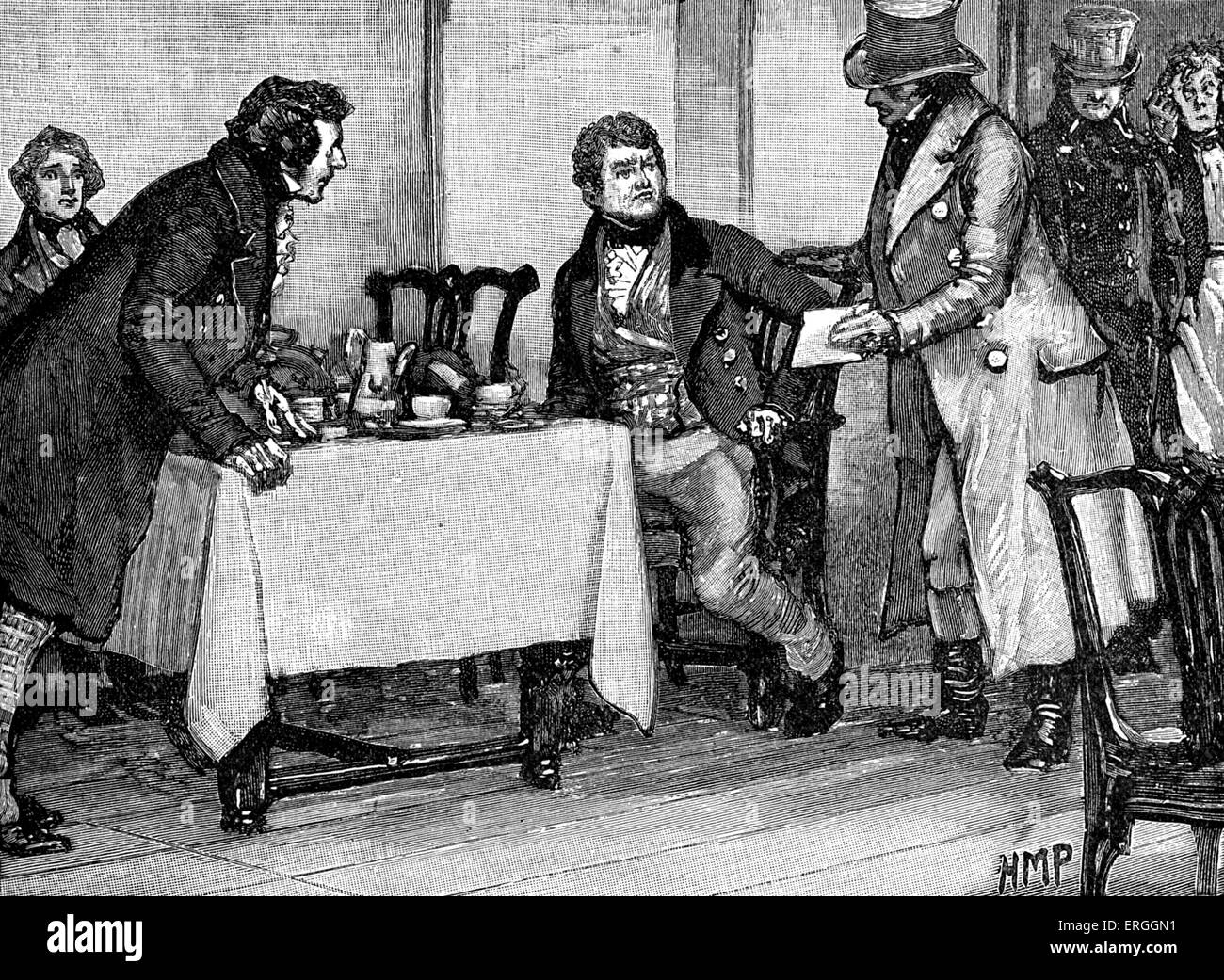 Daniel O'Connell 's arrest for conspiracy after attending campaign meeting for repeal of 1801 Act of Union, - Stock Image