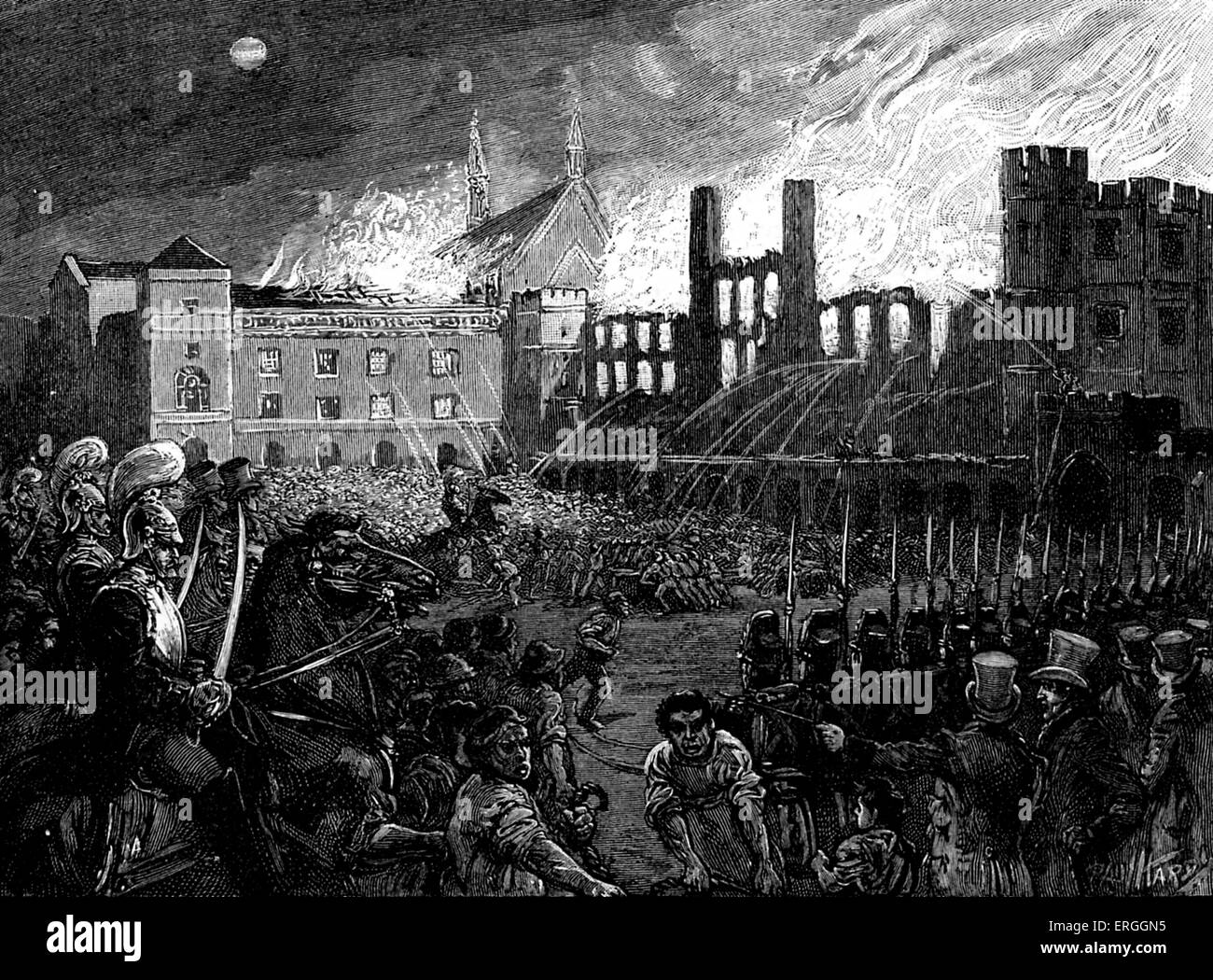Burning of Parliament, 16 October 1834. Fire which destroyed the Palace of Westminster (Houses of Parliament). - Stock Image