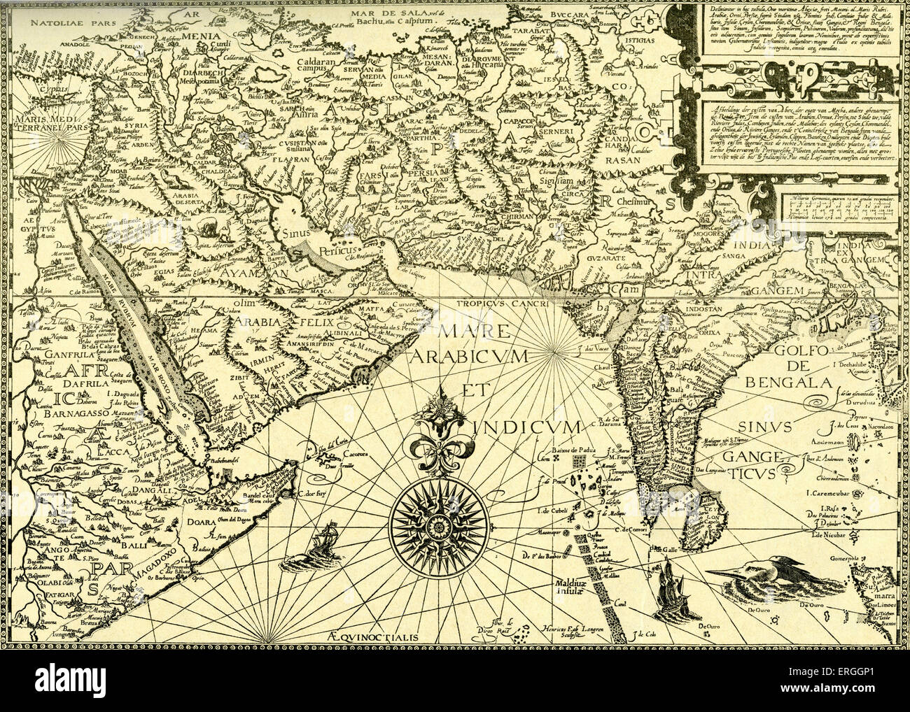 'North East Africa, Arabia, Persia and India'- map in Linschoten's  'Navigatio ac Itinerarium, etc.', 1599. Jan Huyghen van