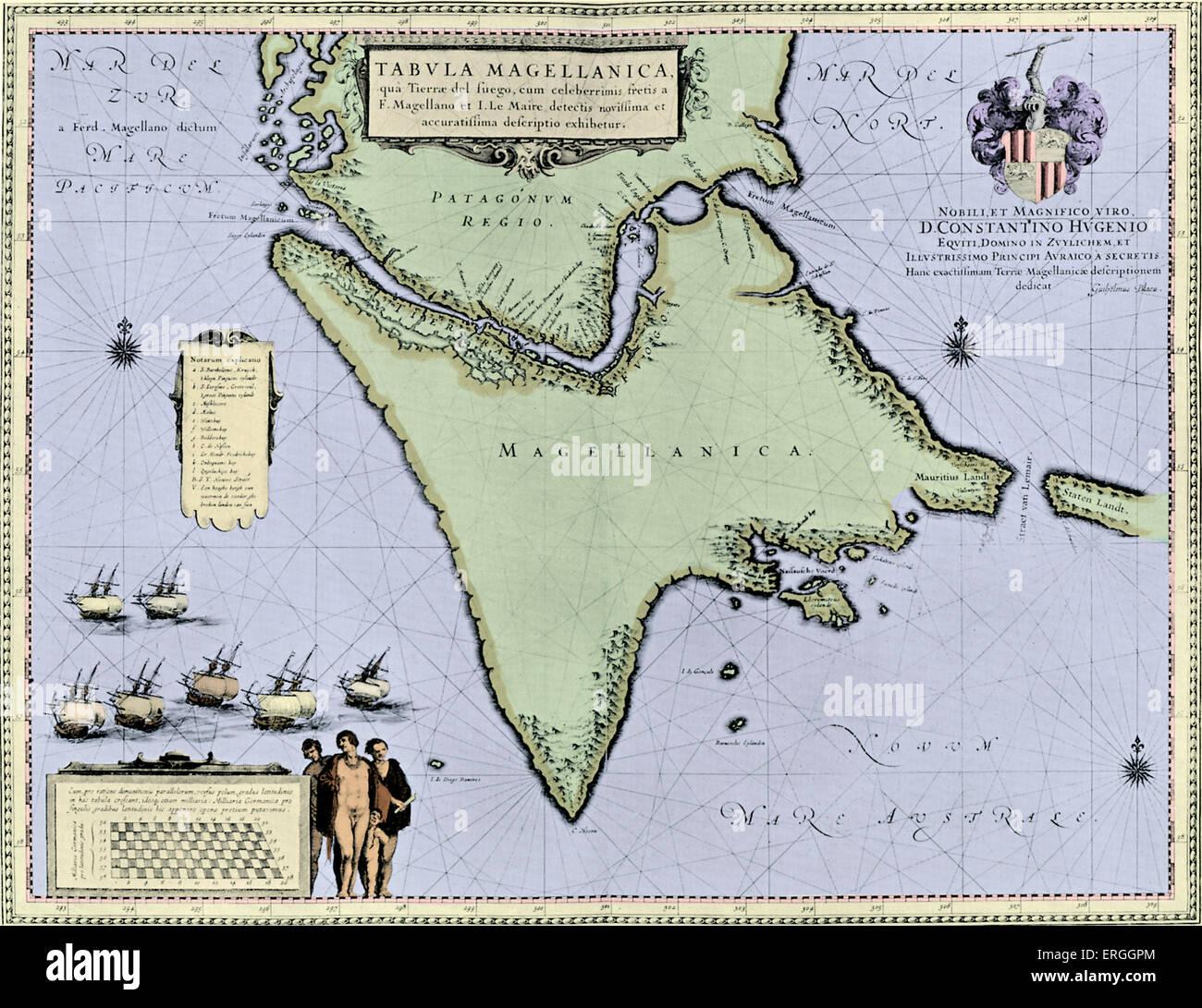 Strait of Magellan and Tierra del Fuego - map published in W.J Blaeu and J. Blaeu 's 'Nieuwe Atlas', - Stock Image