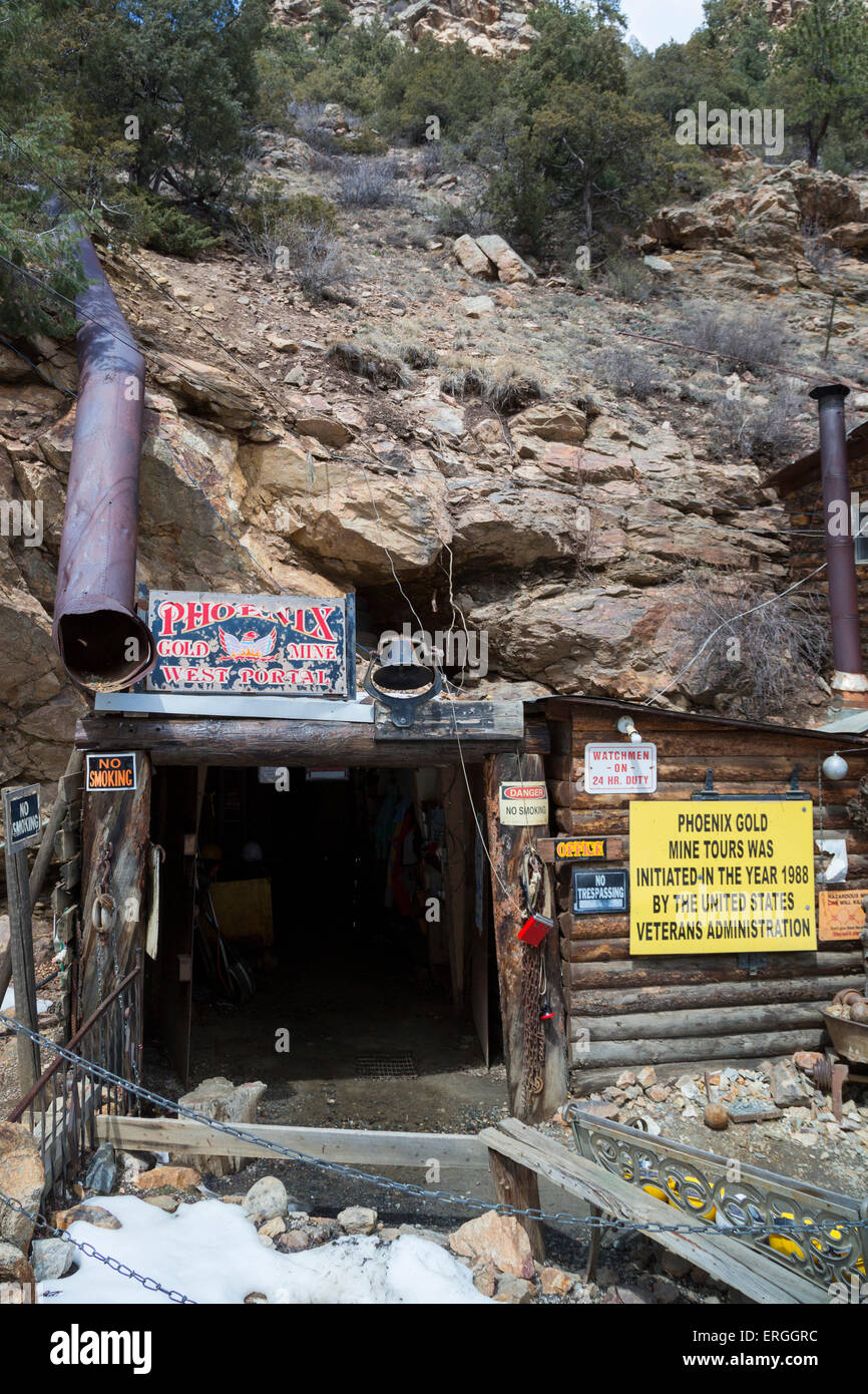 Idaho Springs, Colorado - The Phoenix Gold Mine, which offers tours to visitors. - Stock Image