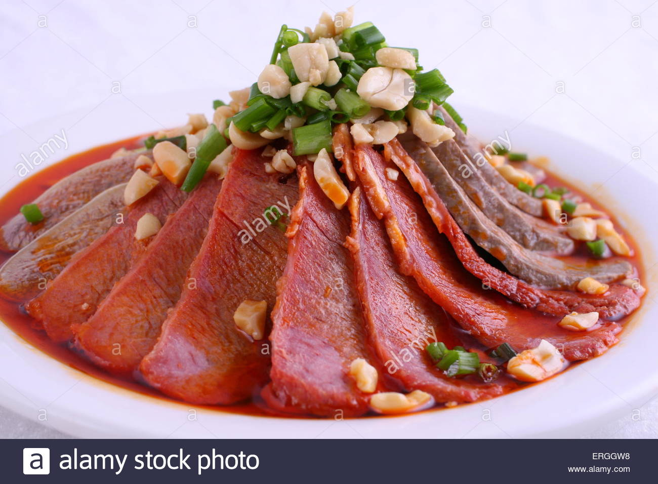 pork lungs in chili sauce - Stock Image
