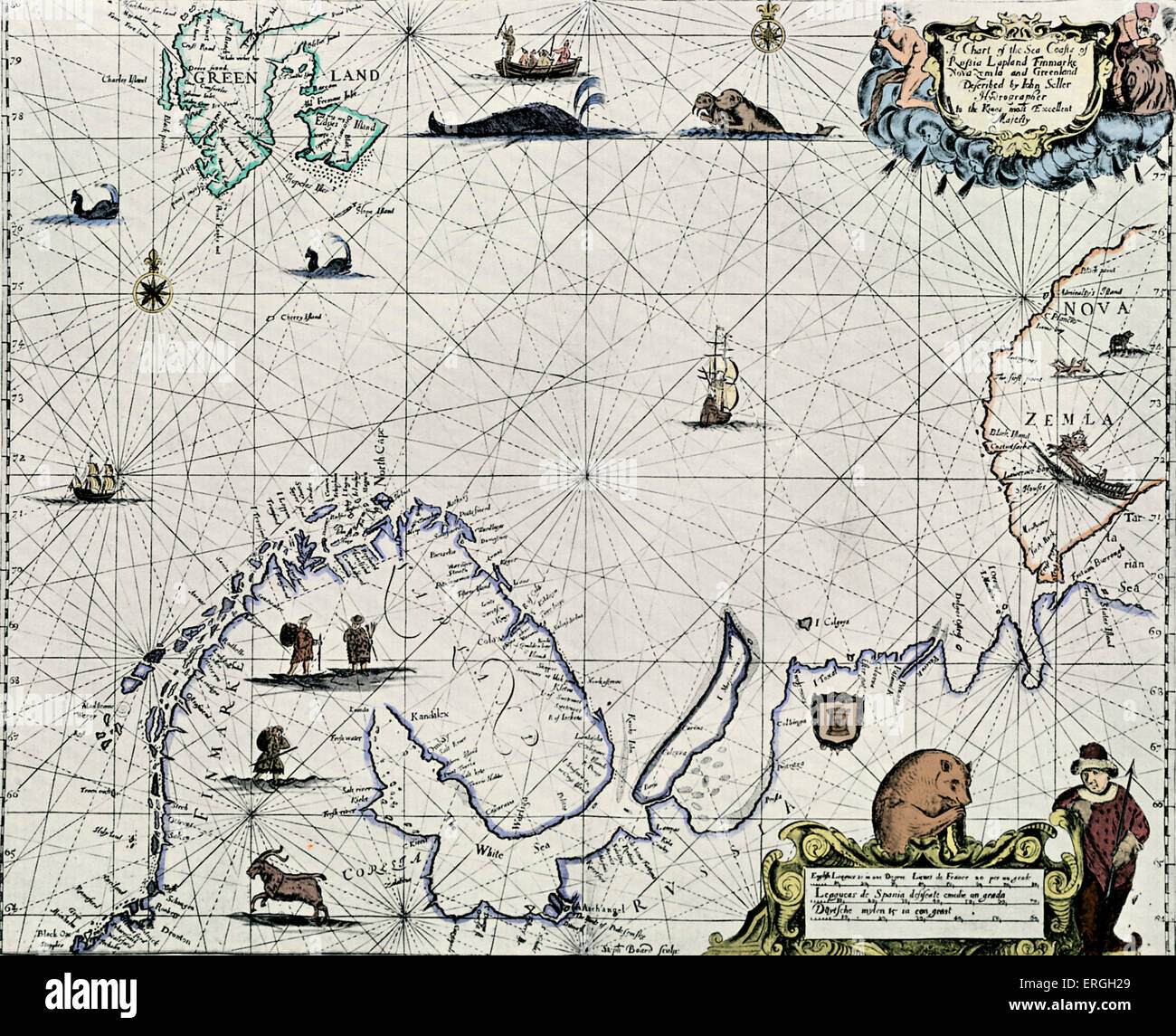 Map of Sea Coast of Russia, Lapland, etc.- published in John Seller 's 'The English Pilot', 1671-75. - Stock Image