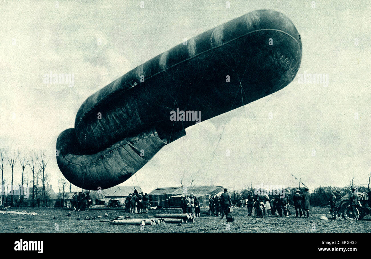 British Kite Balloon at Western Front, April 1916  during World War 1. Official photograph of Western Front. Used - Stock Image