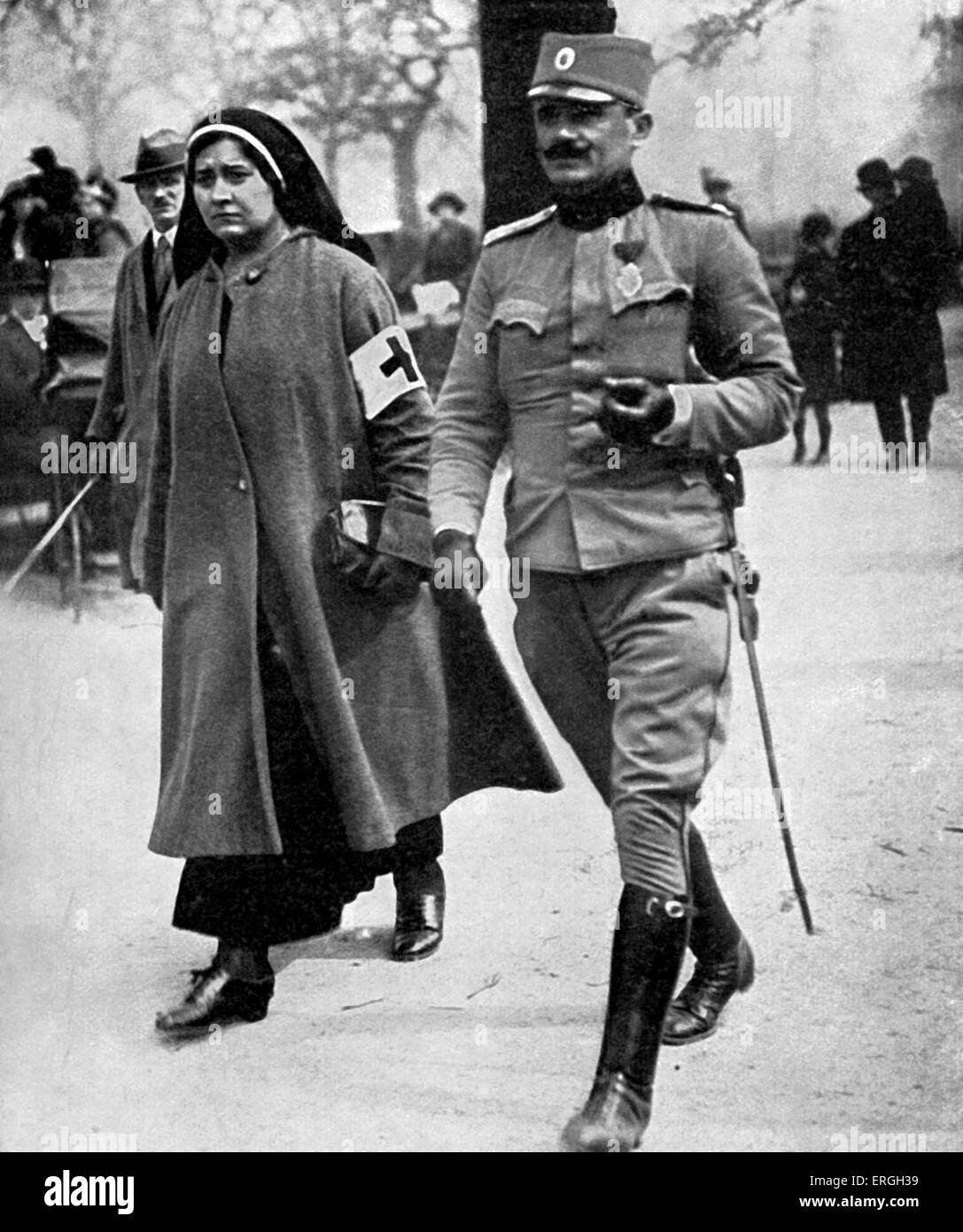 Prince Alexander of Serbia in Hyde Park, London during World War 1. April 1916. Accompanied by a Serbian nurse. - Stock Image