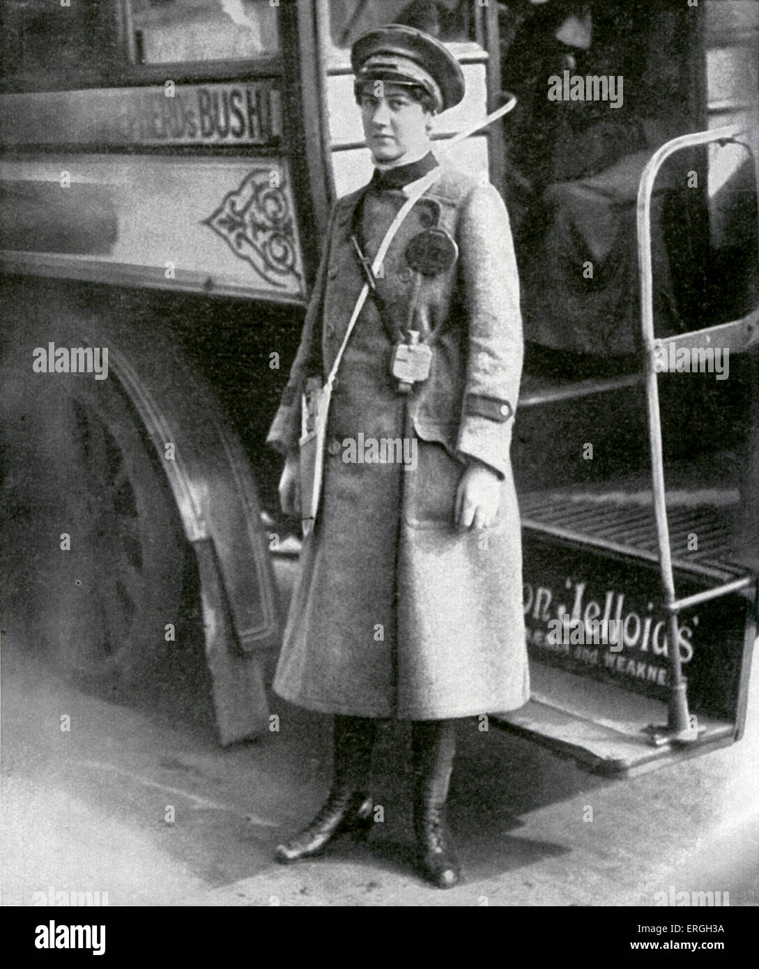 Female bus conductor during World War 1, London, UK. April 1916. - Stock Image