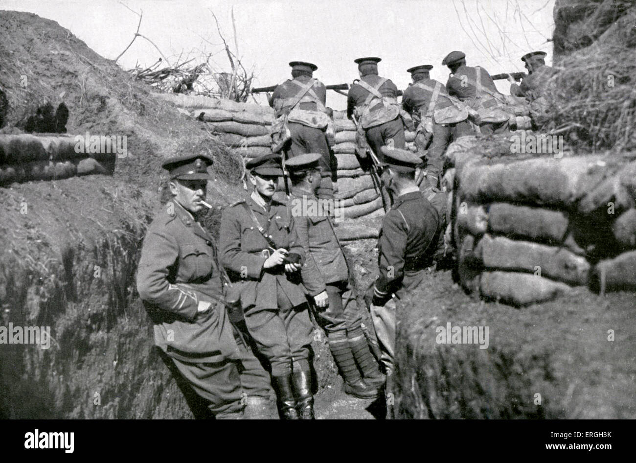 British Army in the trenches near Salonika, April 1916 during World War 1. Salonica, known as Thessaloniki, Greece. - Stock Image