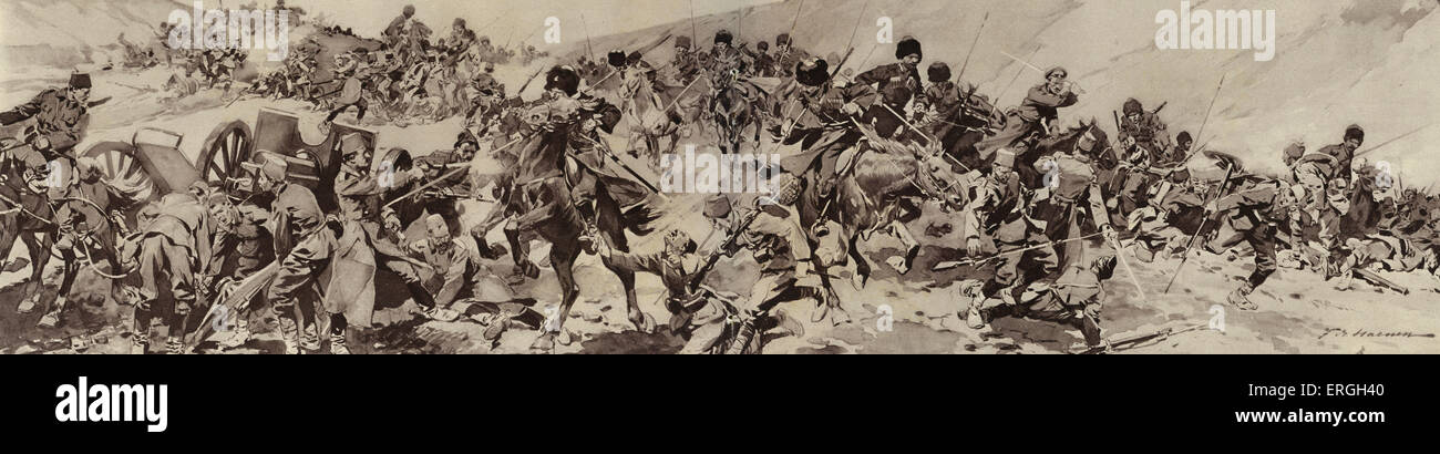 World War 1: Russian Army in Armenia. 1916. Circassian cossacks charging at Turkish troops. - Stock Image