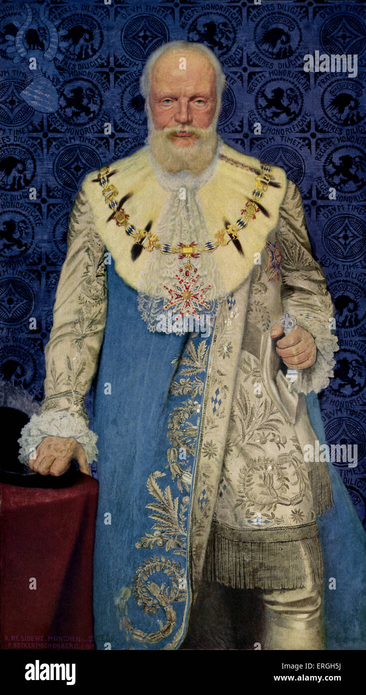 King Ludwig II of Bavaria - portrait to celebrate his 70th birthday on 7 January 1915. Dressed in robe of Grand - Stock Image