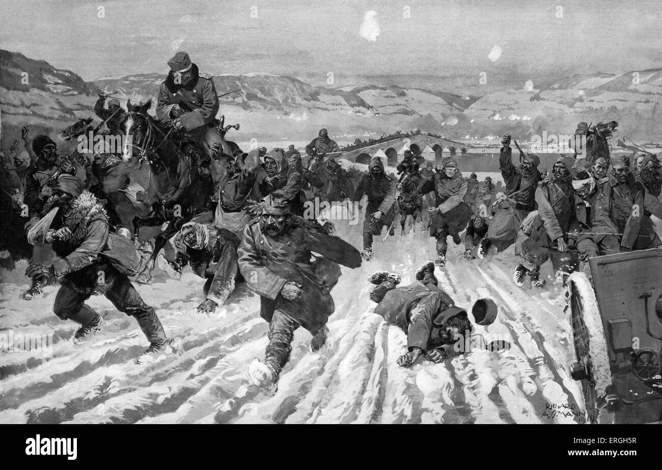 World War I: War between Austro- Hungary and Serbia. Retreat of Serbia after nine days of fighting by Kolubara river - Stock Image