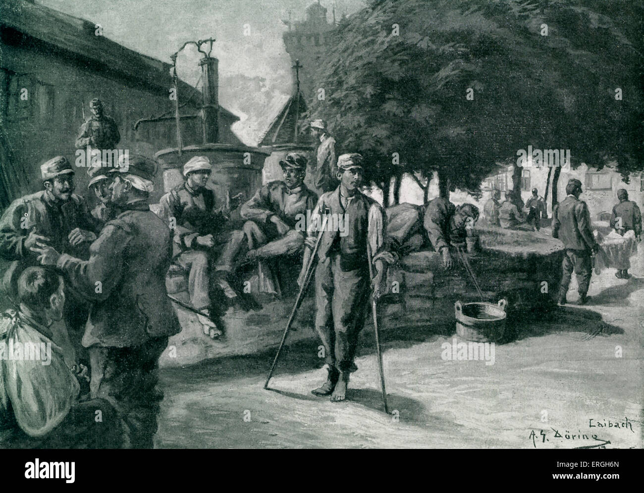World War 1: Wounded Austro- Hungarian troops on the Italian Front. Illustration by Adolf G. Döring. November 1915 Stock Photo