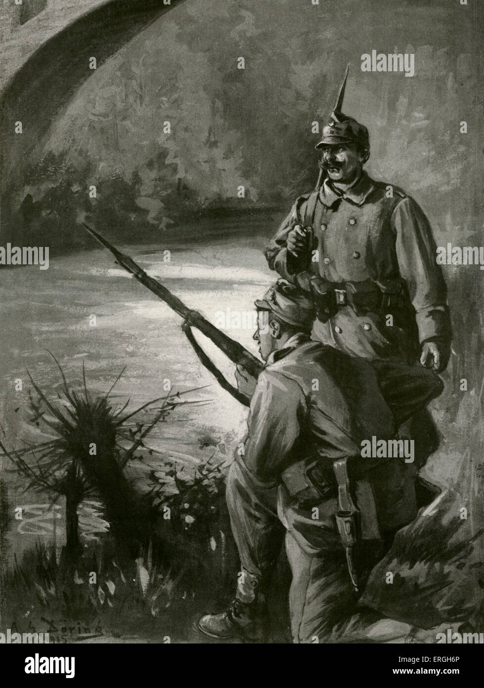 World War 1: 3rd Offensive of Battles of the Isonzo. Two Austro- Hungarian soldiers keeping watch.  Illustration Stock Photo