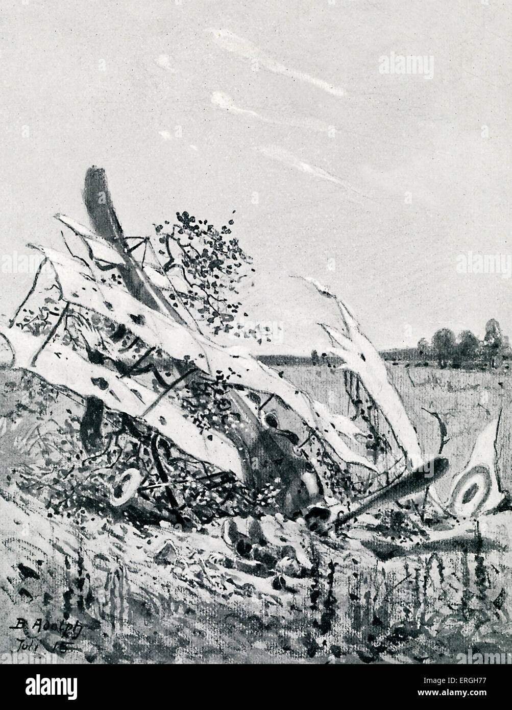 World War 1: Shot - down British plane. After drawing by Berthold Adolph published 4 November 1915. - Stock Image