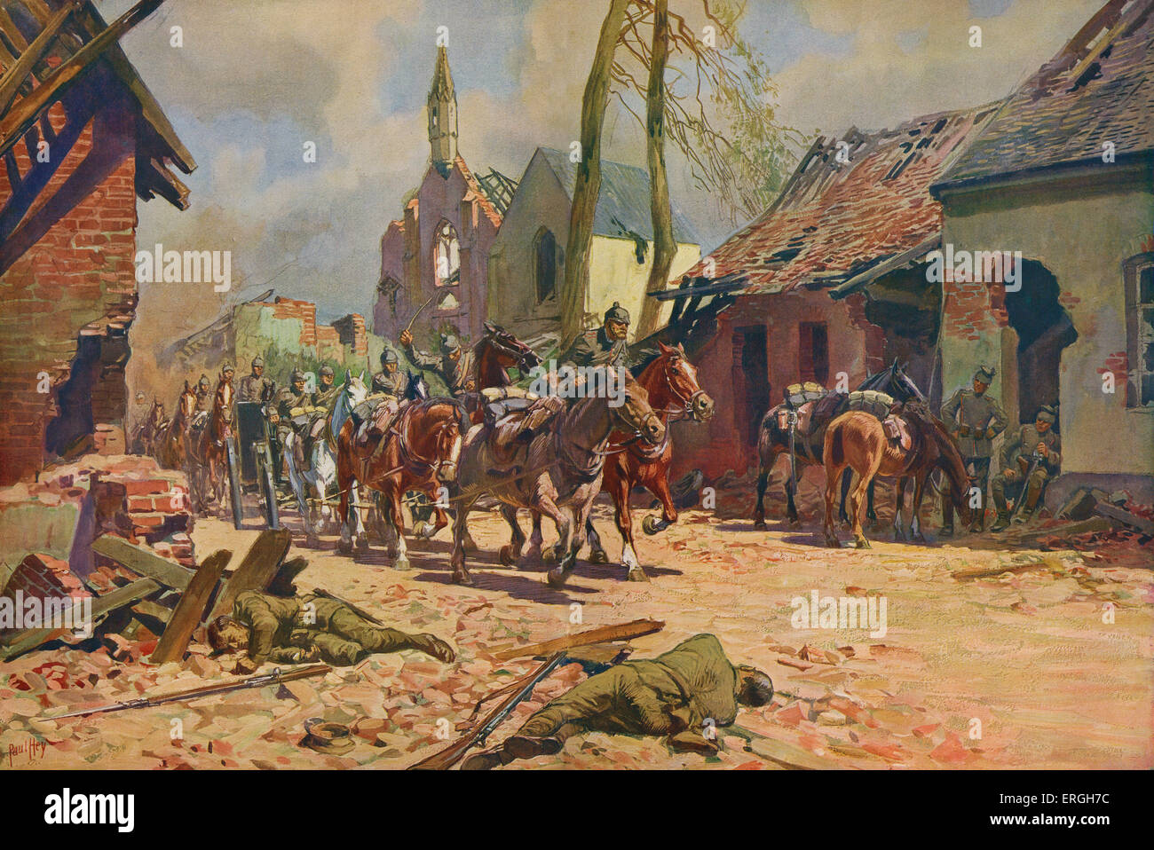 World War 1: German troops in Ypres, Belgium. A German battery riding through St Julien. After a watercolour painting - Stock Image