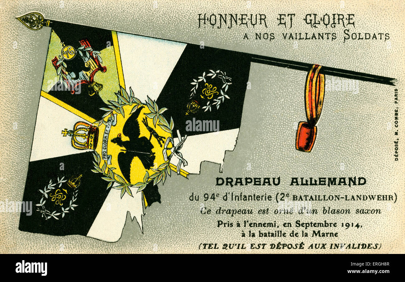 World War I: German flag captured by the French. Flag of the 94th Infantry ('2nd Batallion- Landwehr). Decorated - Stock Image