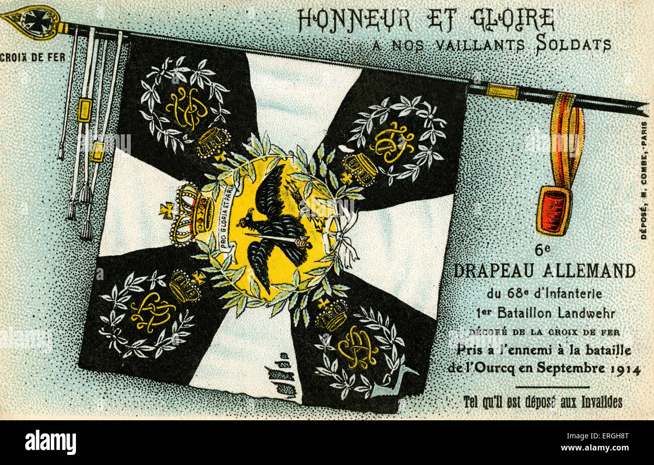 World War I: 6th  German flag captured by the French. Flag of the 68th Infantry ('1st Batallion- Landwehr). - Stock Image