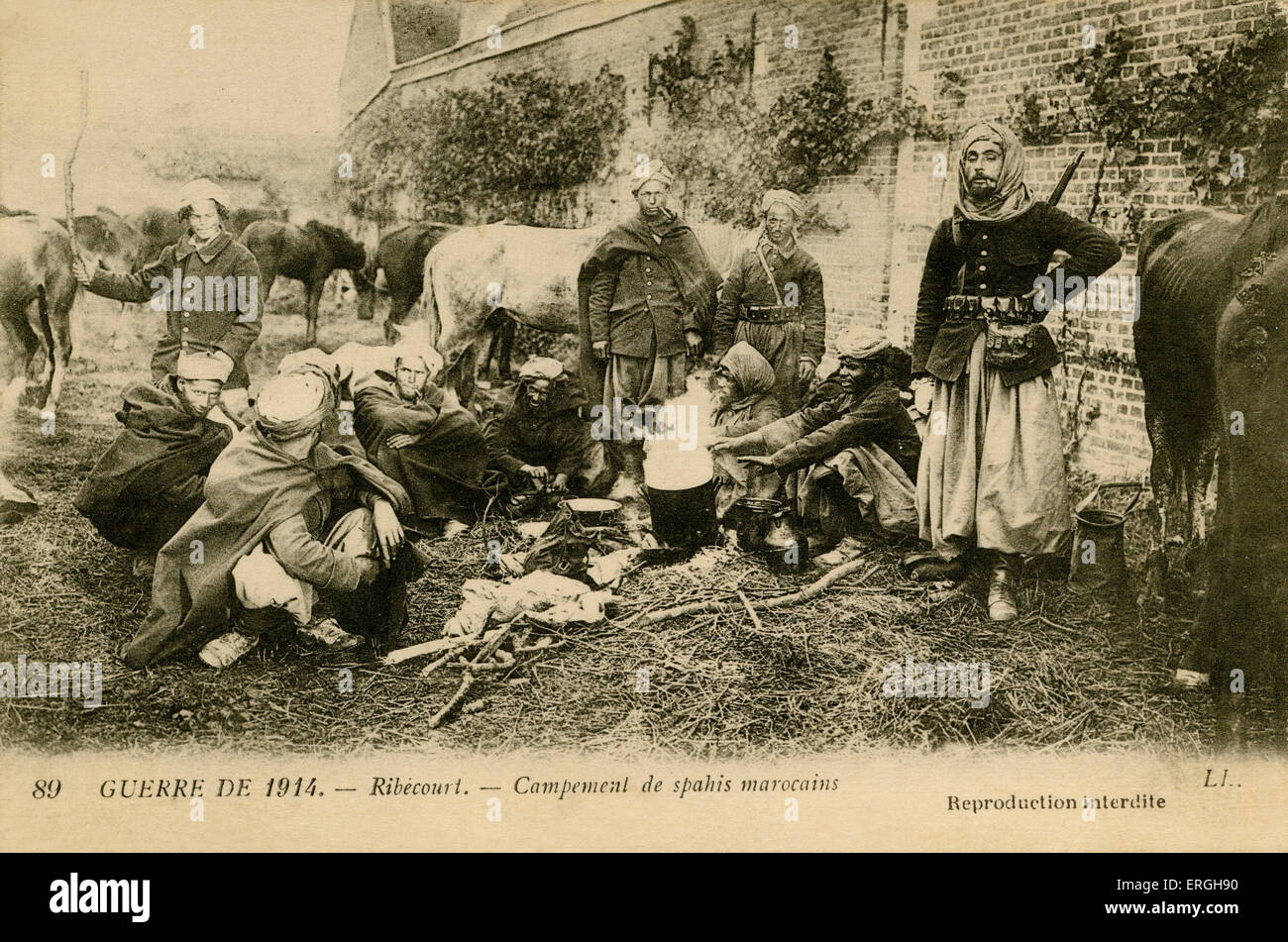 World War 1: Encampment of Morrocan Spahis at Ribécourt, France. Light cavalry regiments of the French army - Stock Image