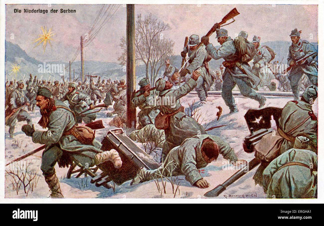 World War 1: 'The Defeat of the Serbs'  (German: 'Die Niederlage der Serben'). Illustration by S. - Stock Image