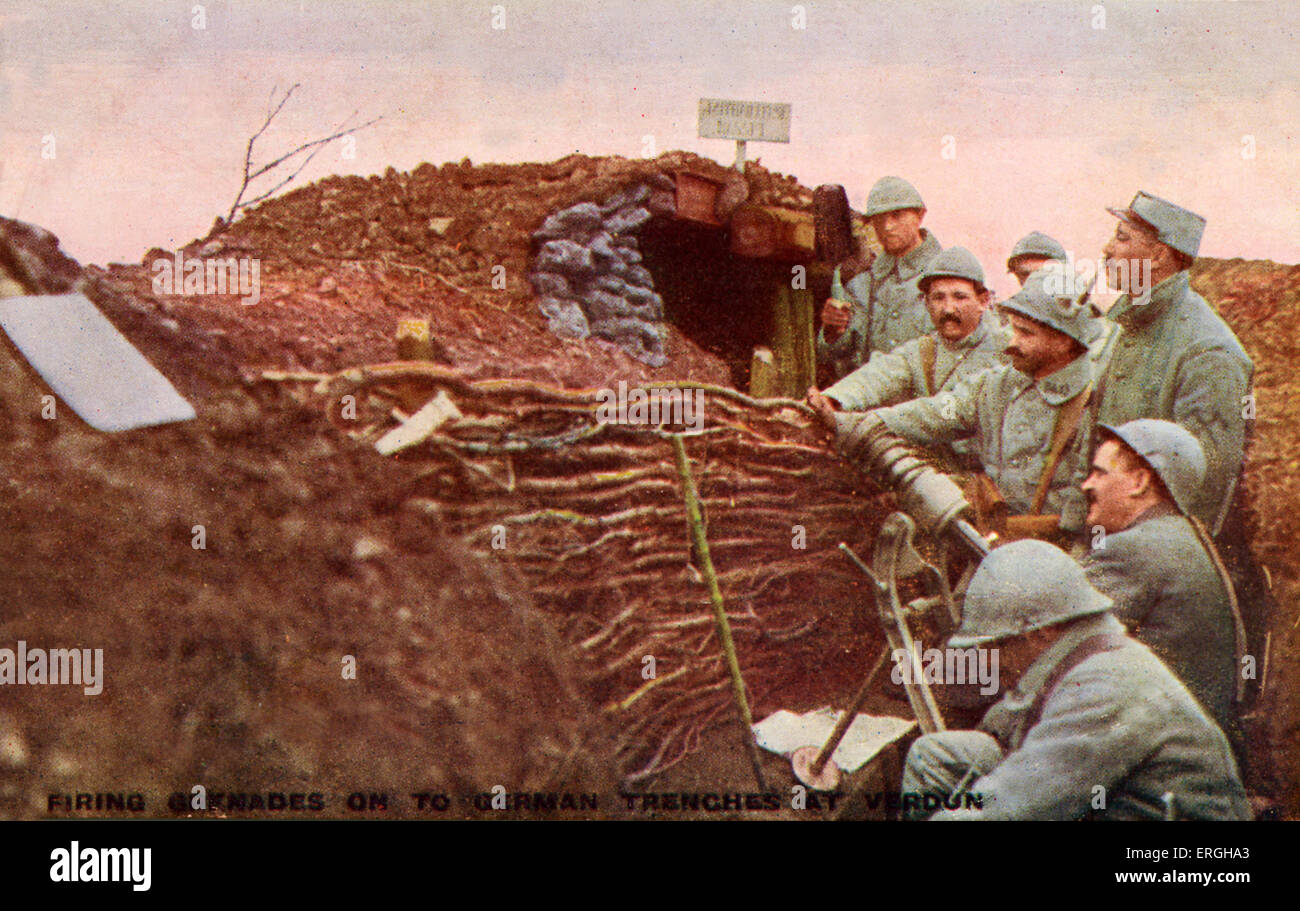 World War 1: Battle of Verdun . 21st of February – 18th of December  1916. French soldiers firing grenades in the - Stock Image