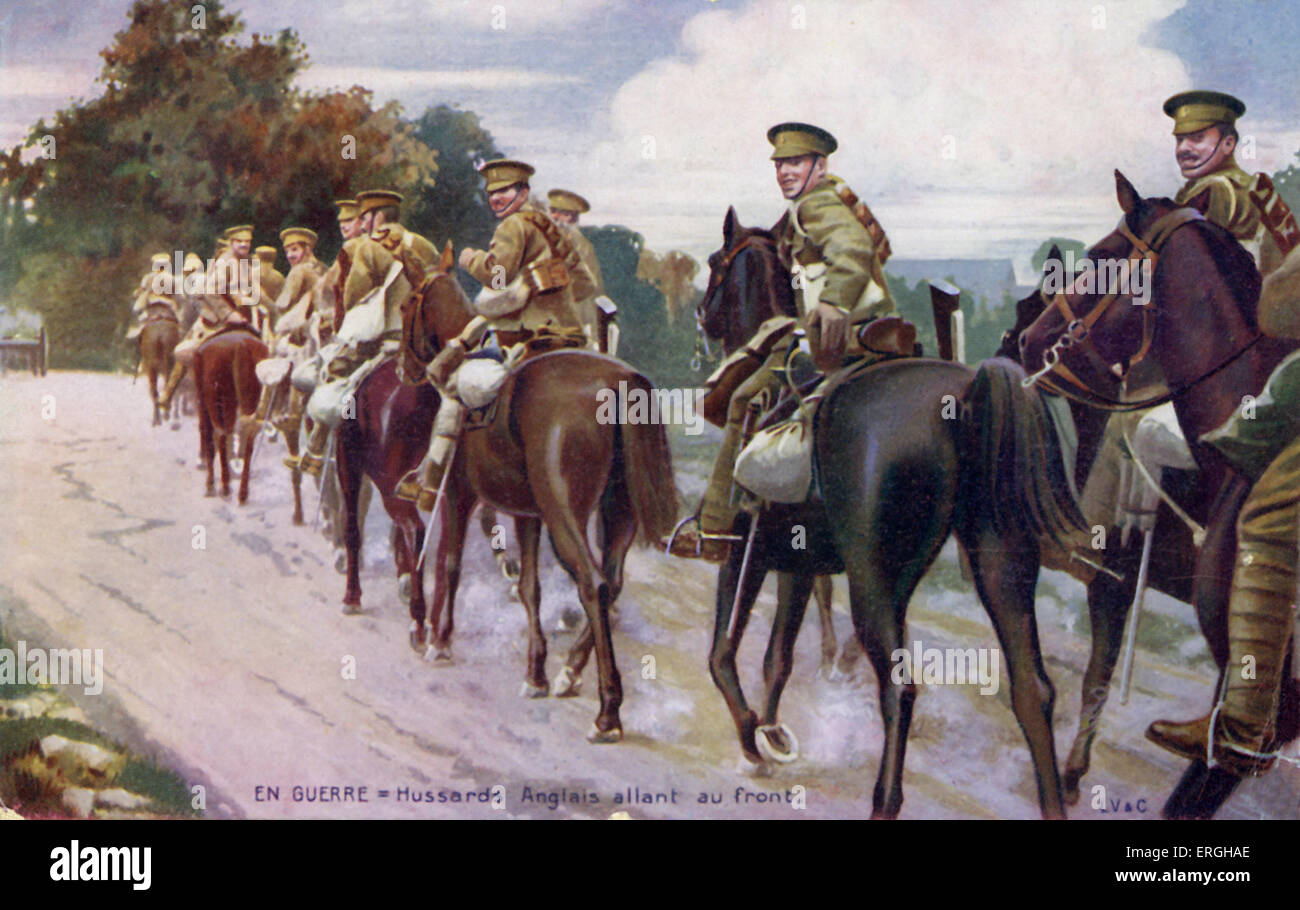 World War 1: English Hussars going to the Front. Light cavalry regiment. French postcard. - Stock Image