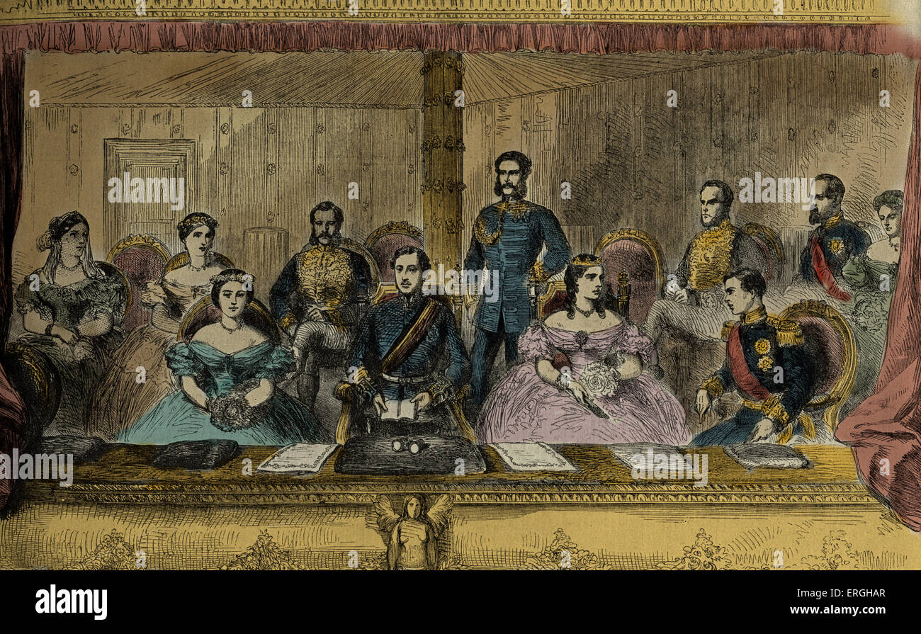 Edward VII and Queen Alexandra - at the Italian Opera, Covent Garden, 1863. Also pictured: Prince Alfred and Princess - Stock Image