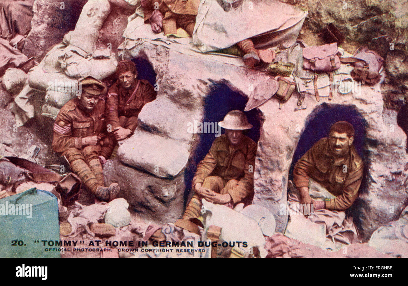 World War 1: 'Tommy' at home in German dug-outs. Offical War Photograph published on postcard. Series III. - Stock Image