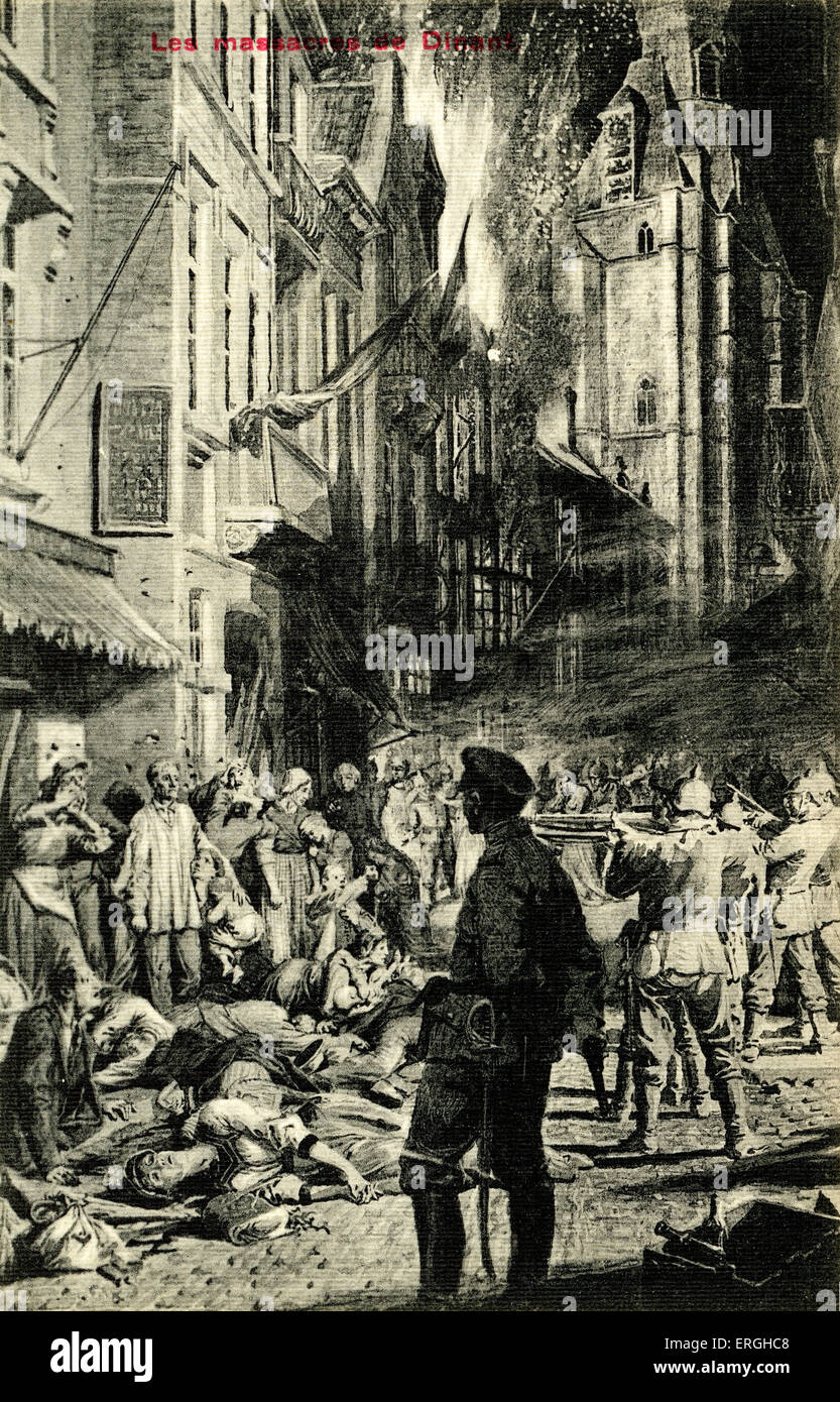 World War 1: The Massacre of Dinant, Belgium. 23 August 1914. Saxon troops of the German army killed 674 inhabitants - Stock Image