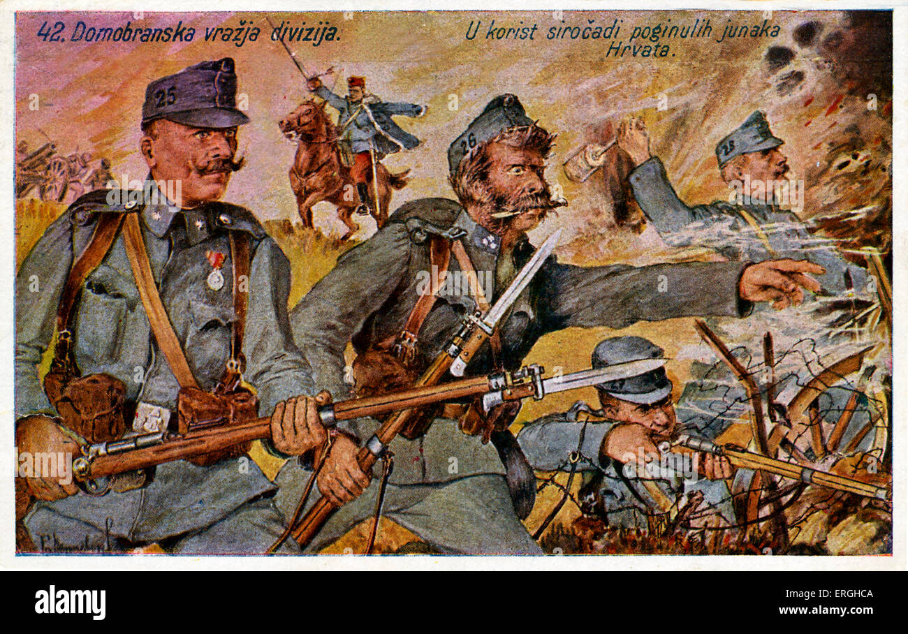 World War 1: Croatian 'Devil Division' ,  42nd Division of Croatian Home Defense  42. Home Guard Infantry - Stock Image