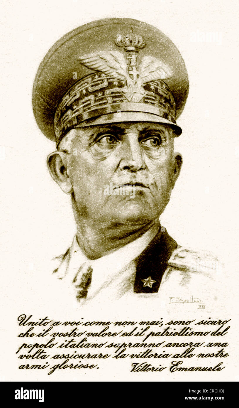 World War 2: Victor Emmanuel III of Italy. Patriotic Italian postcard. Portrait with caption: ' Kingdom as you - Stock Image