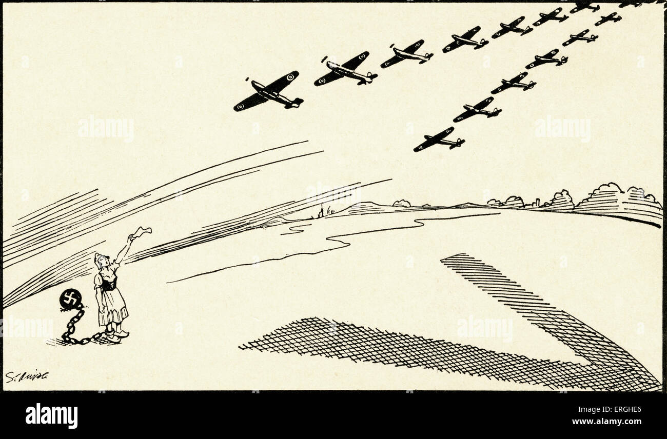 World War 2: Dutch postcard. Dutch woman in traditional dress waves farewell to planes in 'V' formation, - Stock Image