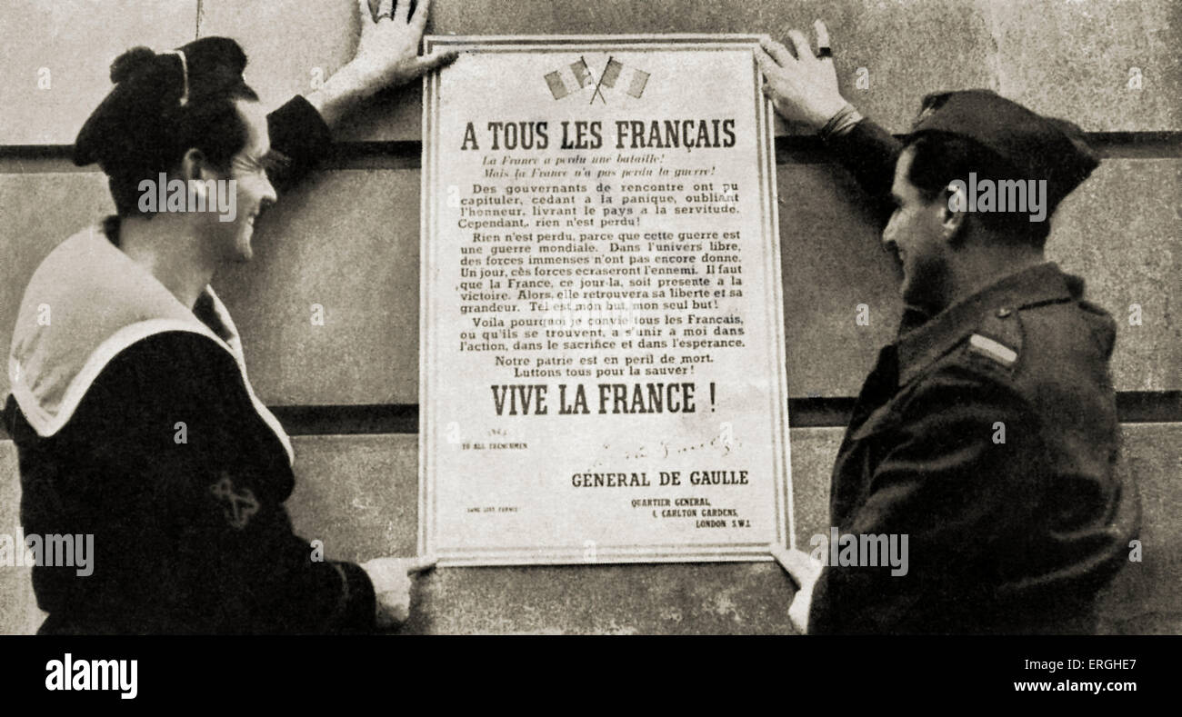 World War 2: General de Gaulle's first manifesto: 'A tous les Français' ('Too all Frenchmen/ - Stock Image