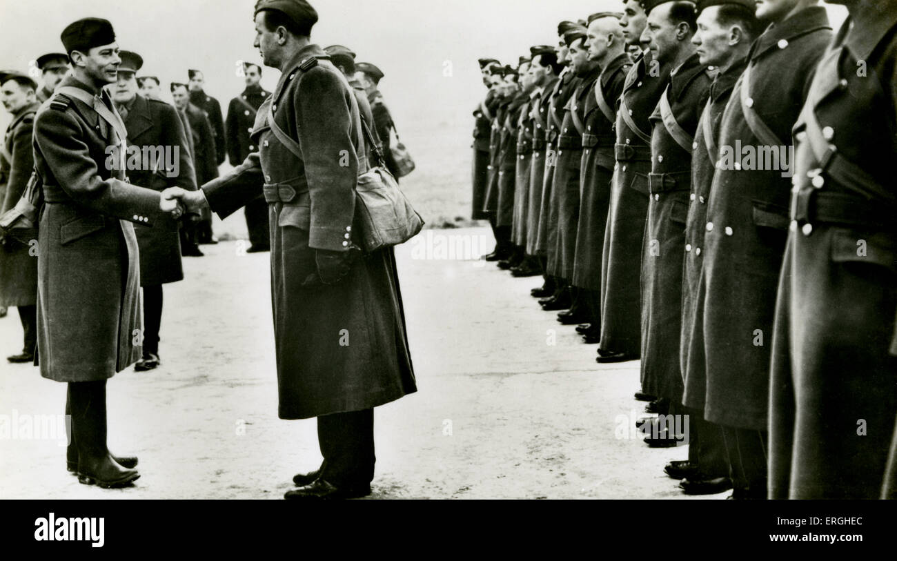 World War 2: George VI and the RAF in France. Caption: 'Officers and men being presented to the King when His - Stock Image