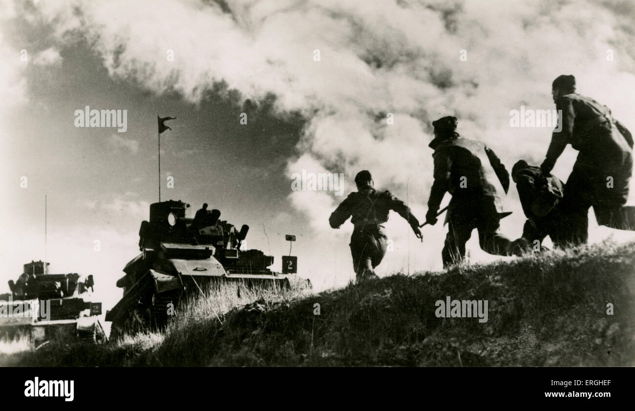 World War 1: British cavalry tank exercises in France. War Office Photograph No.B.1947. Caption:' 'Action!' - Stock Image