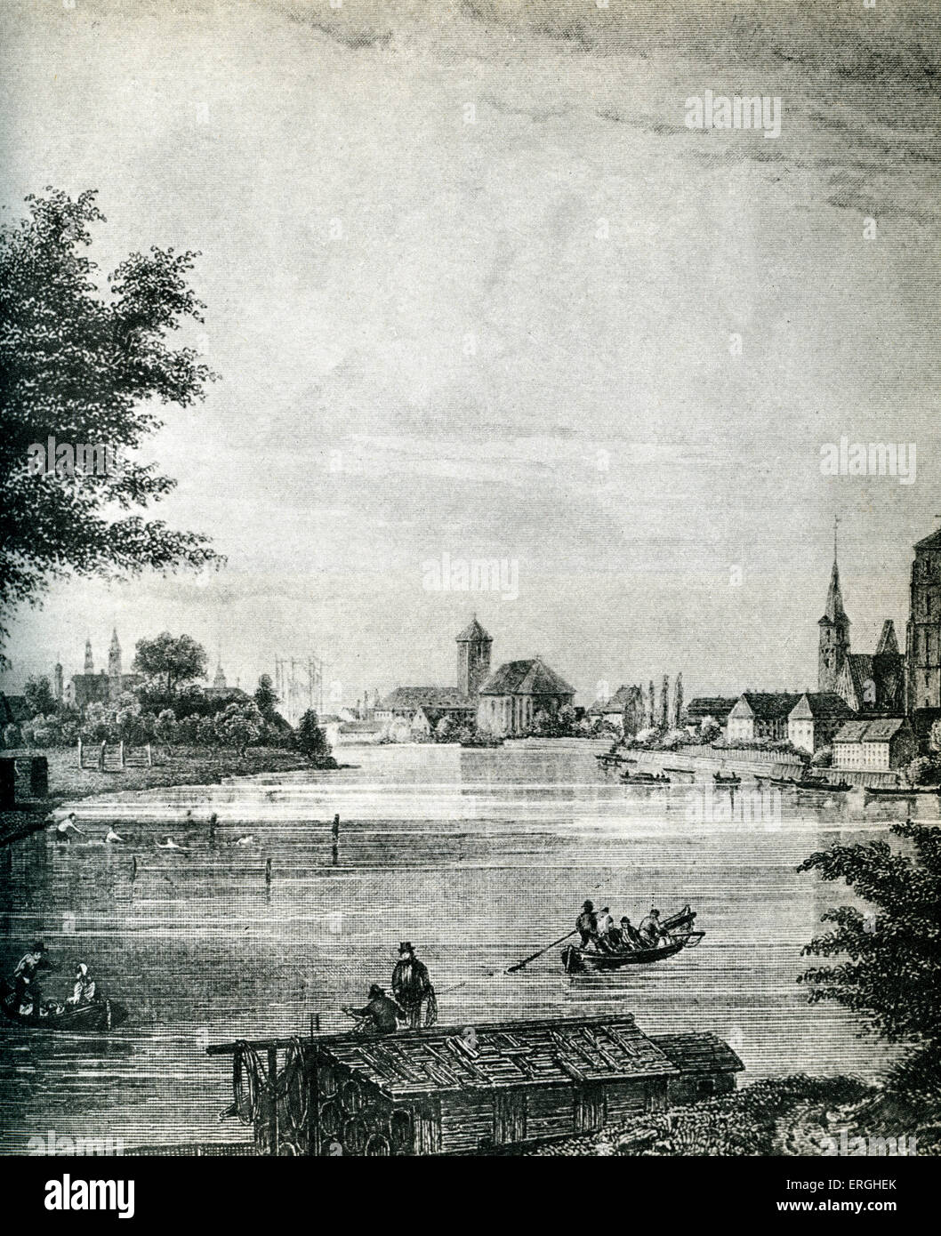 Wrocław, Poland, 19th century. City on the River Oder .  Known as Breslau in German. - Stock Image