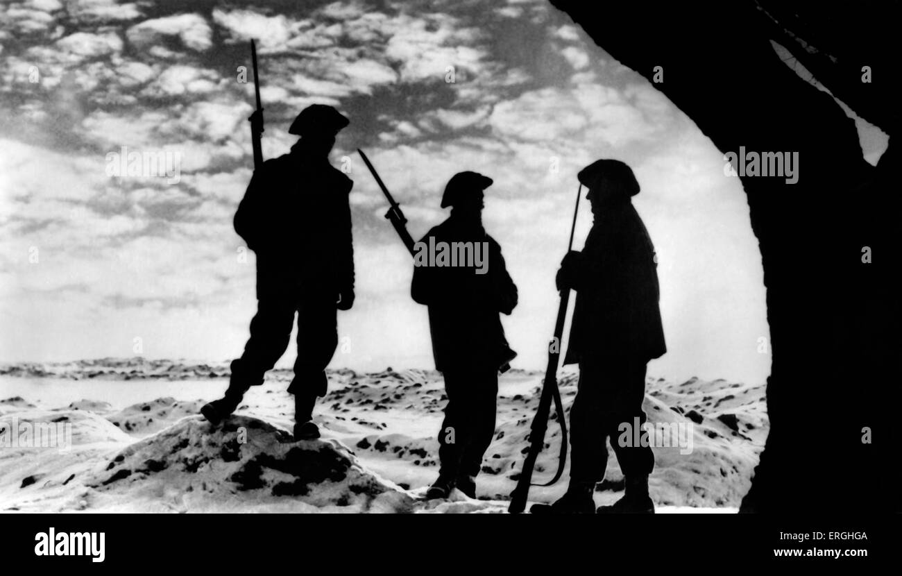World War 2: Sunset on the Western Front. Watchmen at their posts. Official British postcard issued by the Ministry - Stock Image