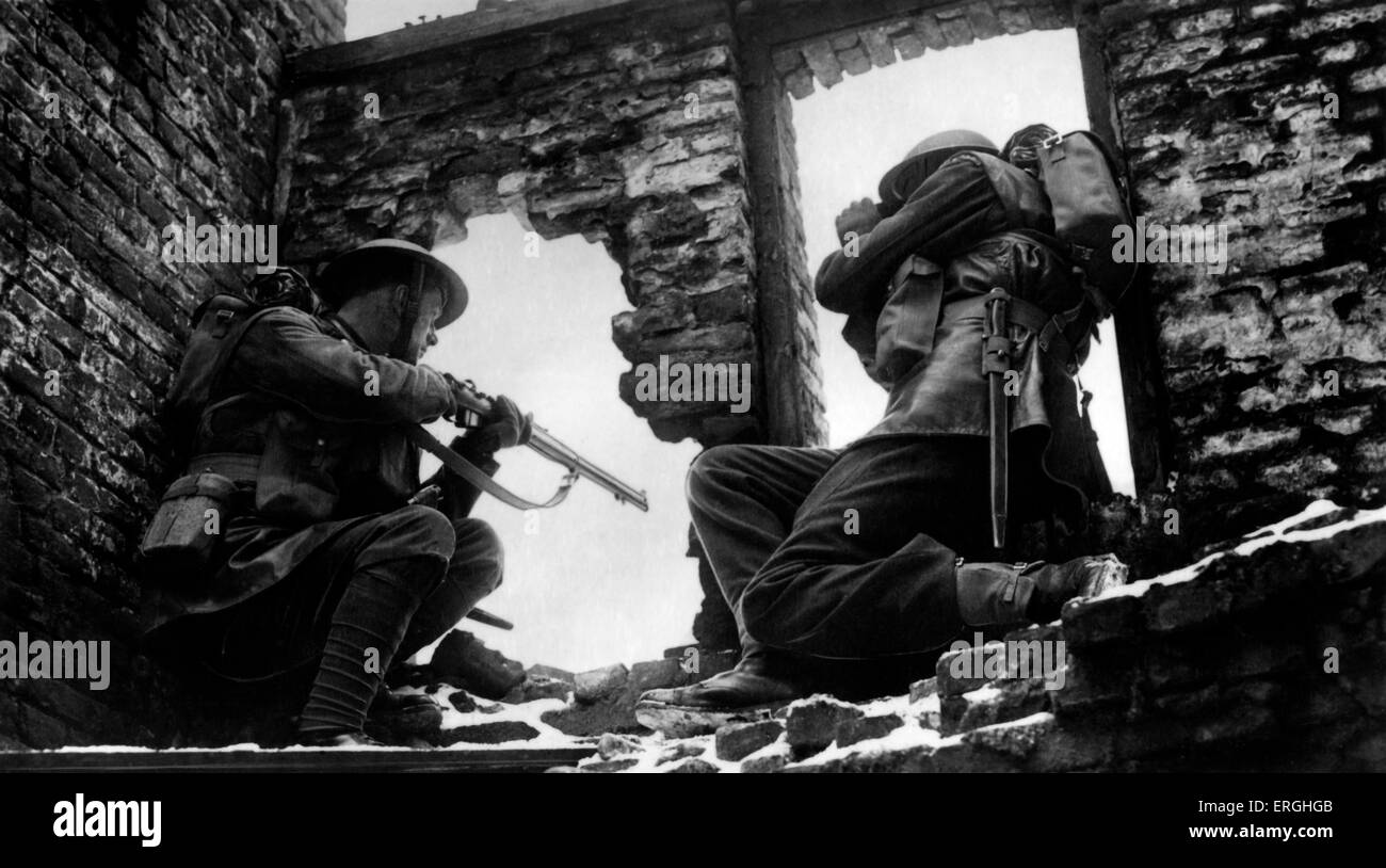 World War 2:  Watchmen at their posts. Caption: 'During training in France, Welsh Guards used a partially destroyed - Stock Image