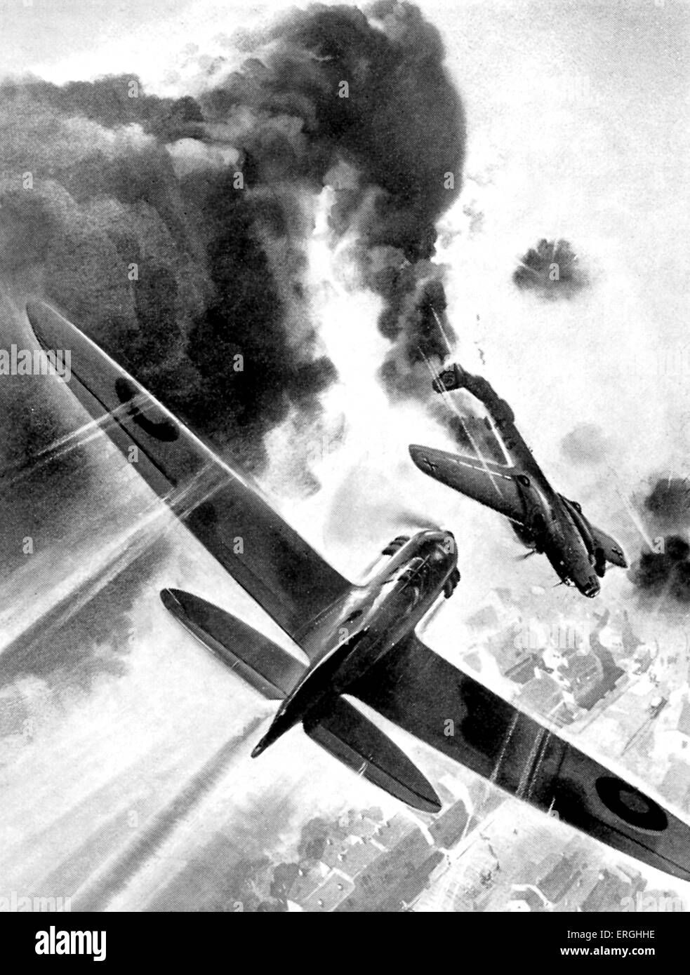 WW2: New Zealand Pilot shooting down Geman bomber. Entitled 'Birthday Party in the Sky'. Caption: 'Young - Stock Image