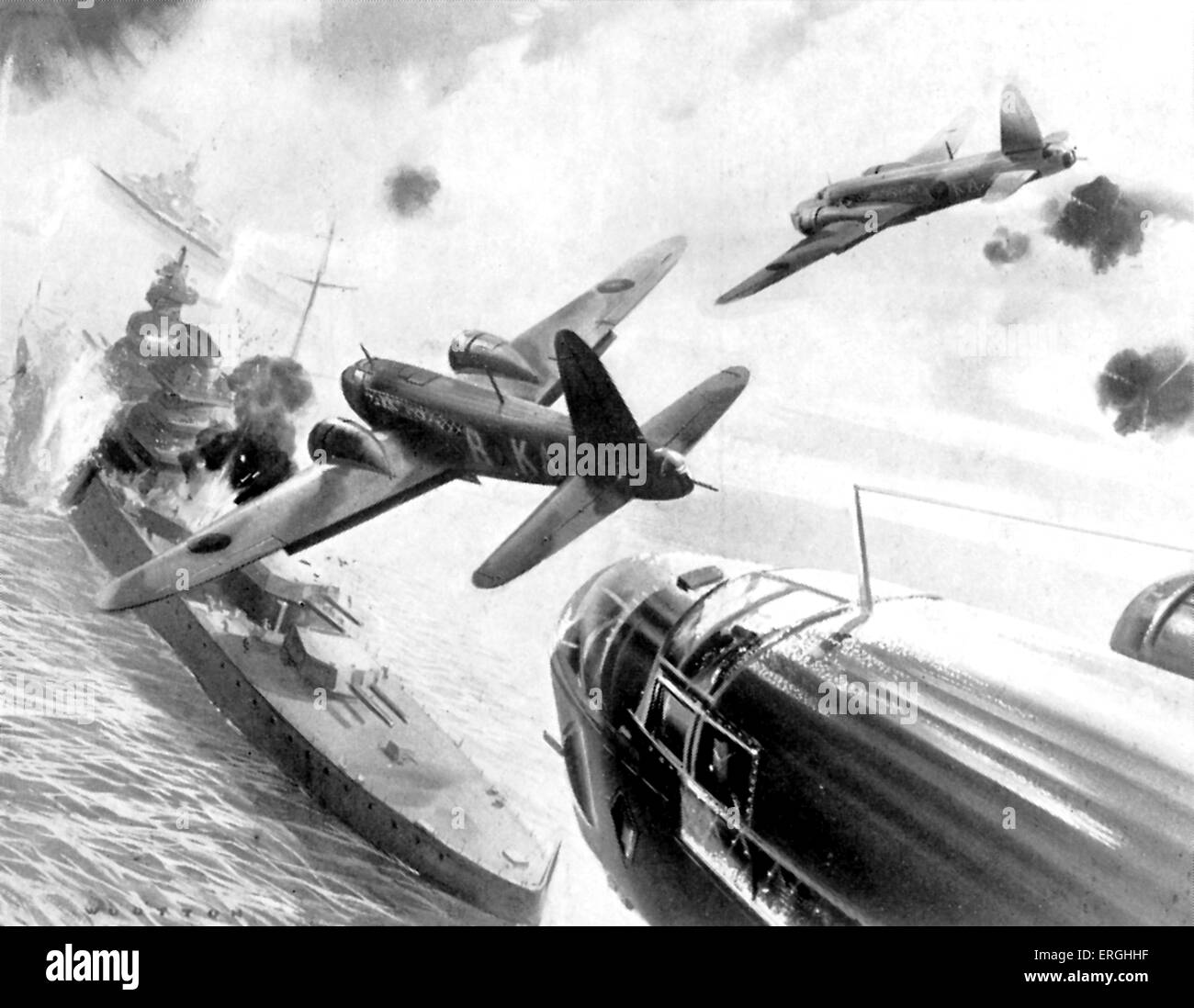 WW2: Attack on German warships at Heligoland, reported 3 December 1939.  R.A.F. bombers. From 'Epic Series' - Stock Image