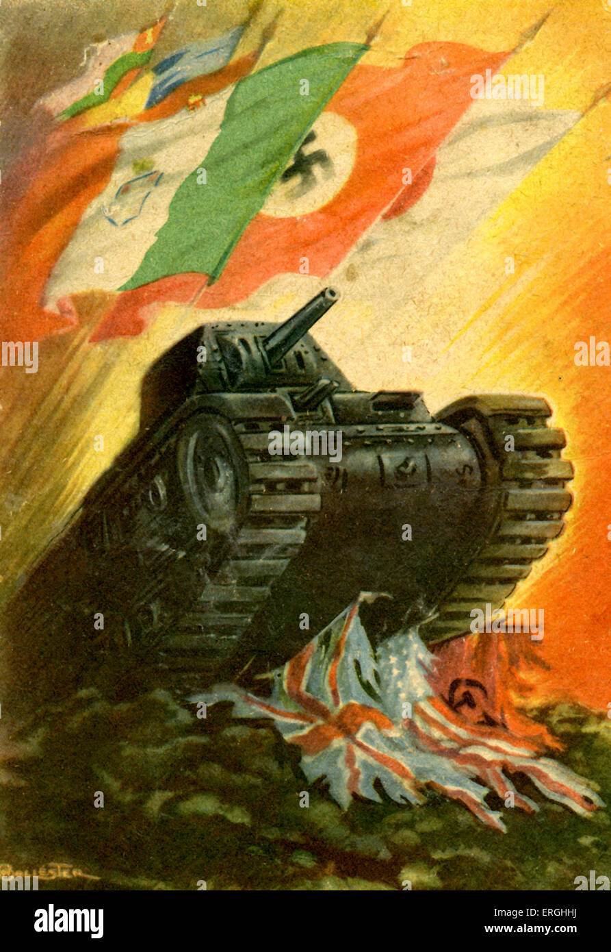 World War 2: Tank crushing Allies ' flags  Flag carrying flags of
