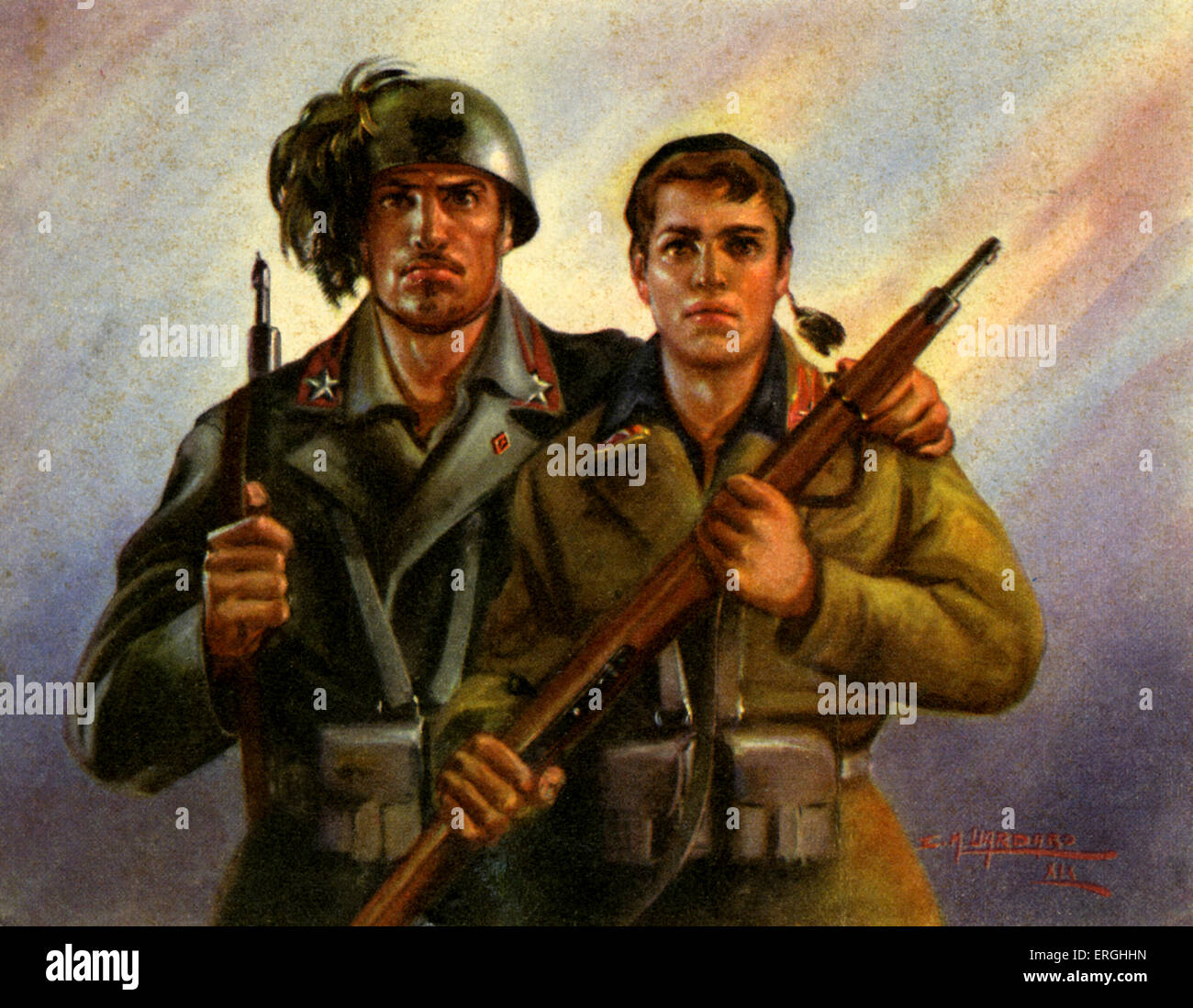 WW2: Italian Young Fascist Volunteer Batallion (Battaglioni Volontari Giovani Fascisti), Italian postcard, c. 1945 - Stock Image