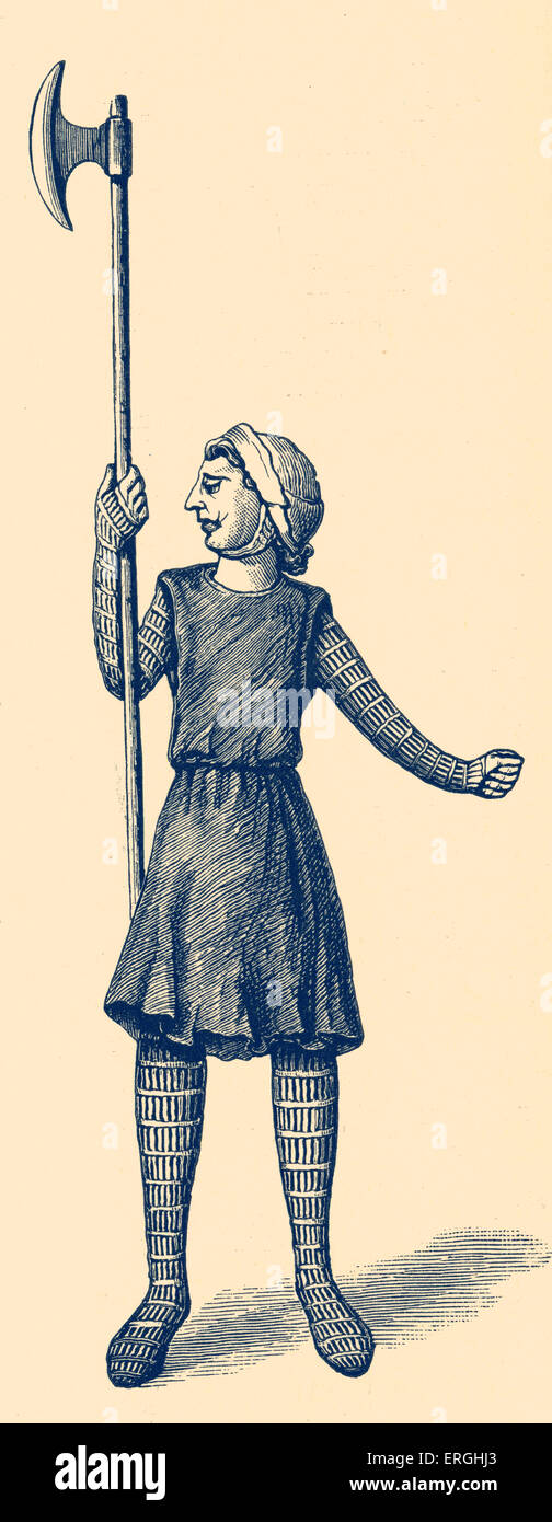 English soldier of 9th century. Illustration from Gospel-book of Mac Durnam. 19th century reproduction. - Stock Image